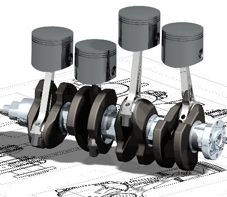 Cam Shaft and pistons - Example of Mechanical Engineering