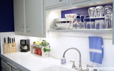 Small kitchen ideas: open-shelving mini makeover