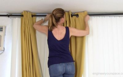 How to hang curtains to conceal vertical blinds
