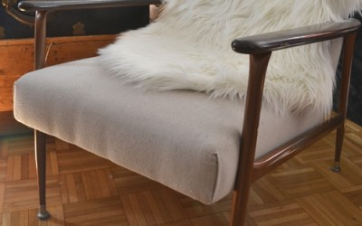 DIY upholstery with a canvas drop cloth