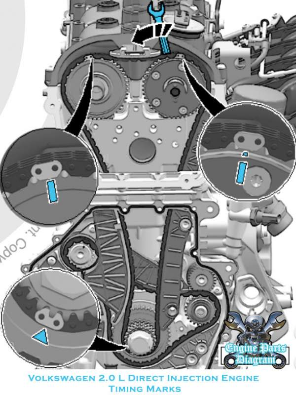 2006-2018 Audi A3 Timing Marks Diagram (2.0L 1.8L Engine)