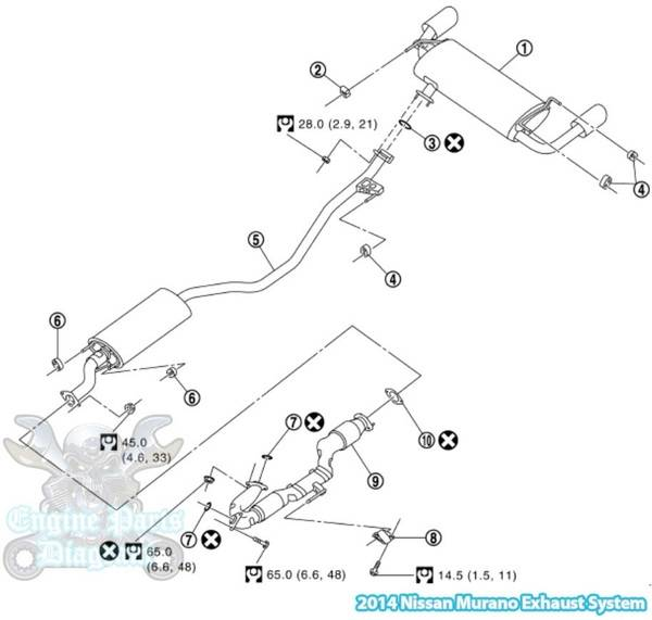 2014 Nissan Murano Exhaust System Parts Diagram (3.5L Engine)