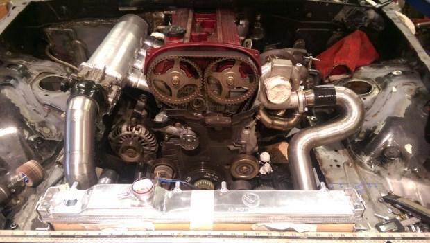 Mazda MX-5 with a Turbo 4G63 inline-four