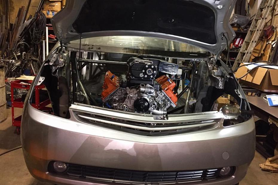 custom Toyota Prius with a supercharged Hellcat V8
