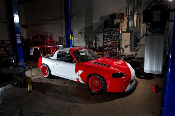 Time Attack Miata built by KPower Industries with a turbo Honda K24 inline-four