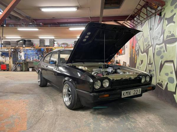 Ford Capri built by Skogen Racing with a turbocharged 5.0 L V8