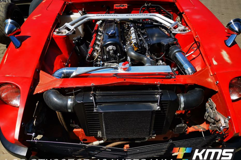 turbocharged Nissan L28 inline-six on the dyno
