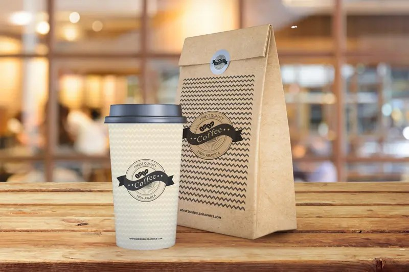 Download Coffee Cup With Paper Bag Packaging Mockup Free Template ...