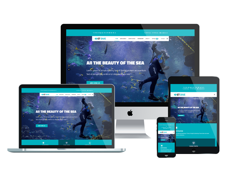 ET Dive Free Responsive Scuba Diving Website Template Engine Templates