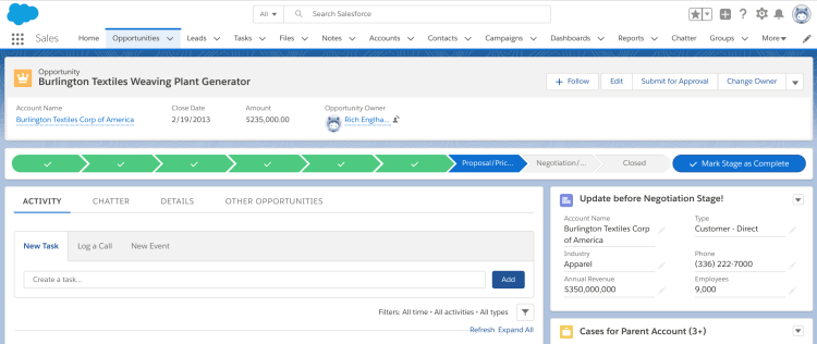 Salesforce Lightning Record Page - Opportunity with Account Update