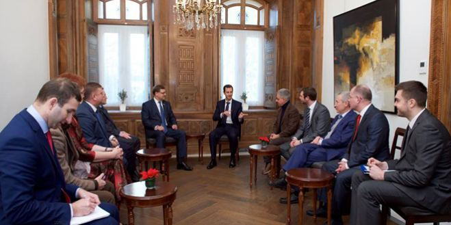 President Assad receiving EU parliamentary delegationPresident Assad receiving EU parliamentary delegation