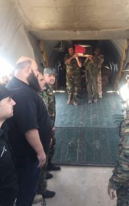 Issam Zahriddine's body has arrived late Wednesday in Damascus after being flown from Deir Ezzor.