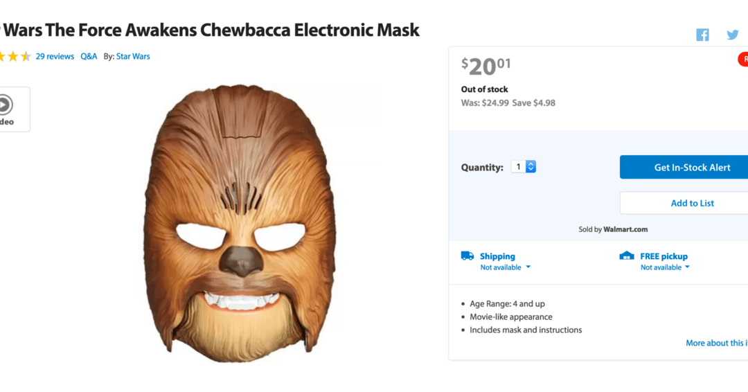 Chewbacca mask is sold out