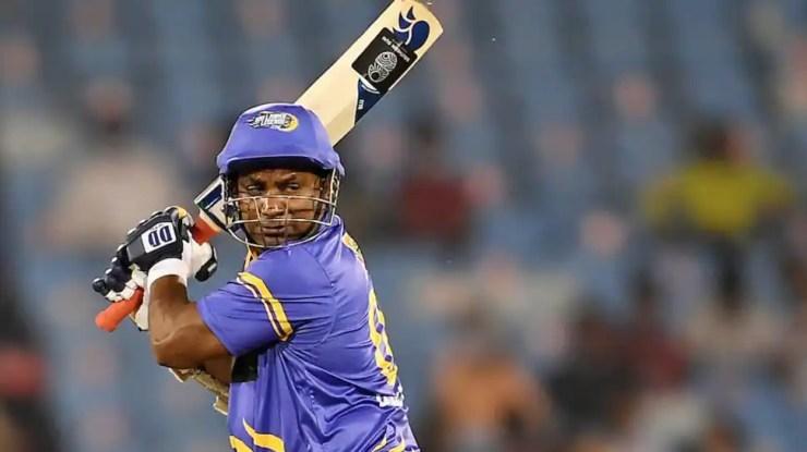 Sri Lanka Legends opener Sanath Jayasuriya is dismissed in the Road Safety World Series final against India Legends. (Source: Twitter)