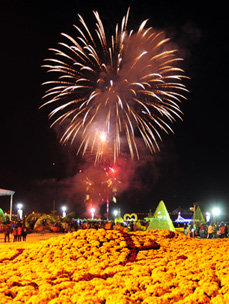 Fireworks light up the sky on the eve of the Chrysanthemum Festival in Masan on Thursday.