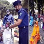 Police devises unique method in distributing food in Rangpur