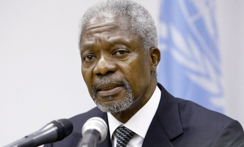 UN Photo/Mark Garten Kofi Annan was the seventh Secretary-General of the United Nations. In this field photo from 2006, he speaks to reporters at the UN mission in Liberia (UNMIL).