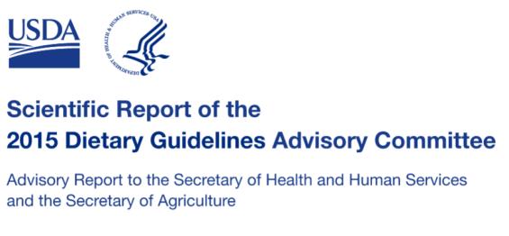 """הדו""""ח המדעי של הועדה המייעצת להנחיות התזונתיות, 2015, USDA"""