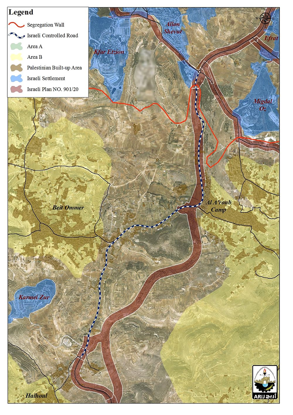 Map 1: The section of the Israeli bypass road to be implemented on lands of Beit Ummer, Al Arroub Refugee Camp and Halhul communities in Hebron Governorate