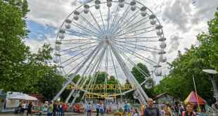 low angle photography white ferris wheel