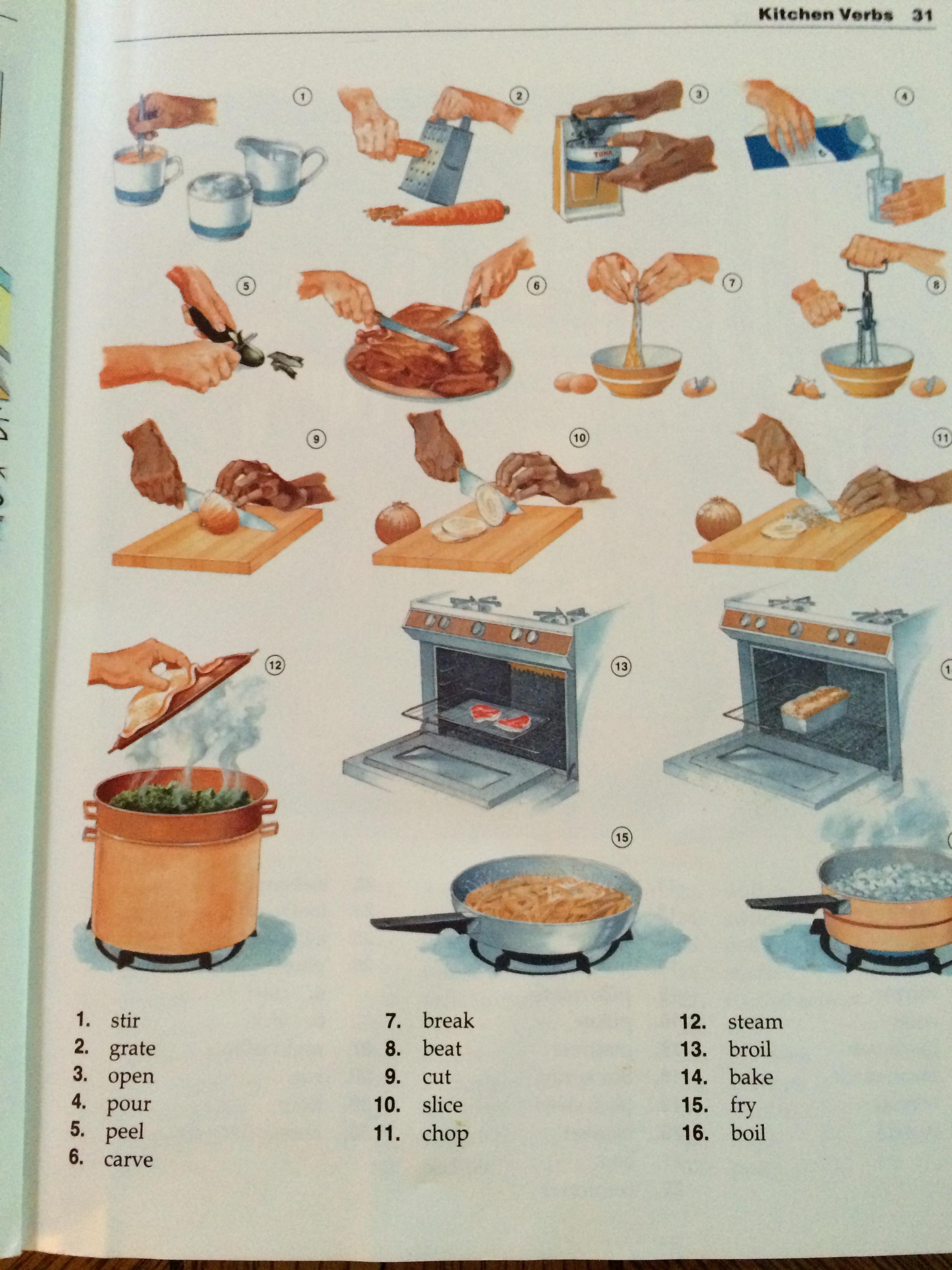 Cooking Verbs Words Sentences Verb Tenses Questions