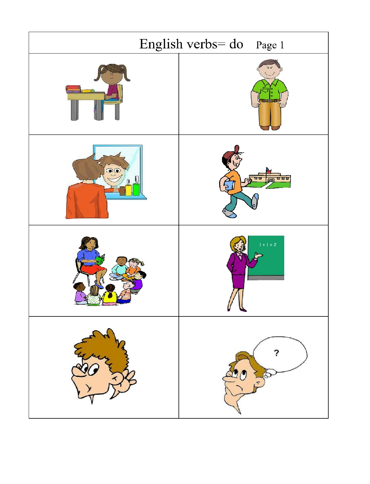 Very Basic Verbs Group 1 Pictures Words Simple Sentences Page 1
