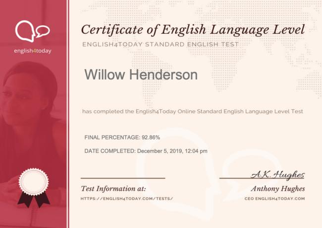 Sample Standard Certificate 3