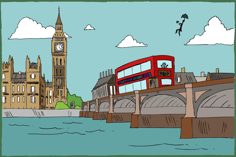 Illustration d'un bus typique de Londres avec Big Ben en arrière-plan