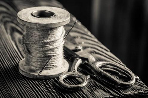 Vintage scissors and threads on spools