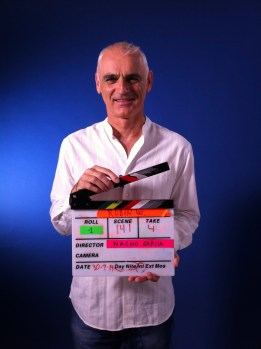 Taking a break and a change of role while filming training videos for OUP in Madrid.