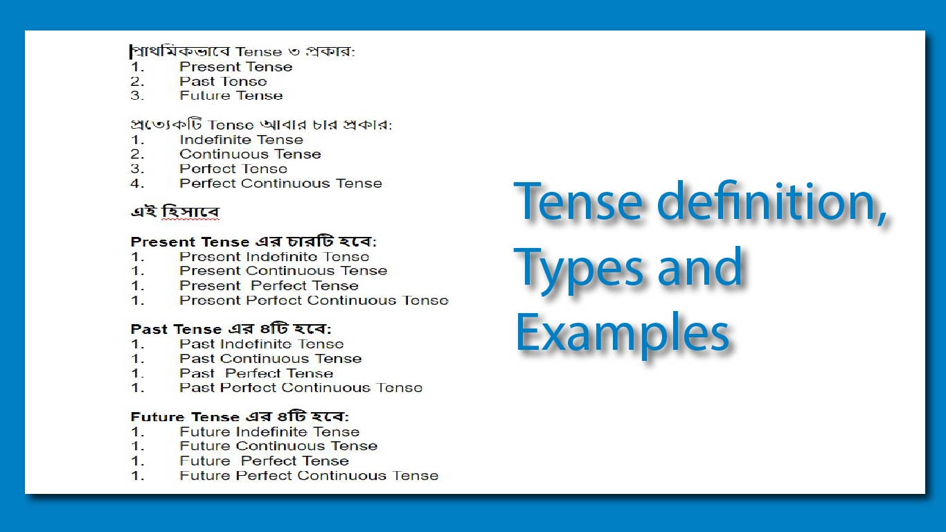 Tense definition, types and examples