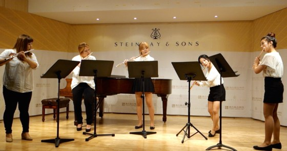 German School of Music Weimar flute students Dayeon Oh, Hyelim Lim, Hyeri Song, Jung Yoon Lee, and Jiu Hwang perform Grieg's Peer Gynt Suite No. 1. Cosmos Music, Seoul, 2 October 2014.(Image: Charles Ian Chun)