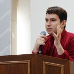 """4th-year international studies major Elías Molina delivers """"Education. Why?"""" for which he won first prize at Kangnam University's English Speech Contest. (Photo: Charles Ian Chun)"""