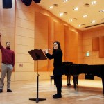 Inside Kangnam University's Concert Hall, Italian flutist Davide Formisano guides the playing of sophomore Yeo Ini during one of several Masterclasses at the German School of Music Weimar. (PHOTO: Charles Ian Chun)