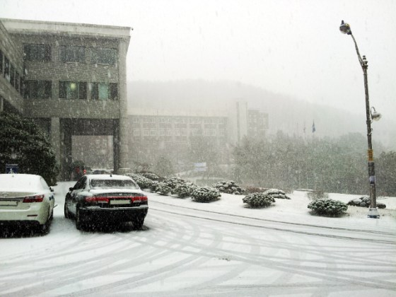 Campus hit by intense snowfall