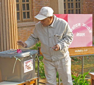 A Nepalese man casts a vote for the Constituent Assembly election in 2008. (SOURCE: test.ifes.org)