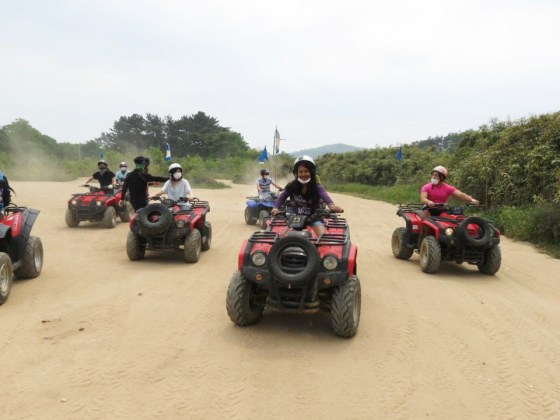 KISS members ride ATVs (PHOTO: Park Jin-seok)