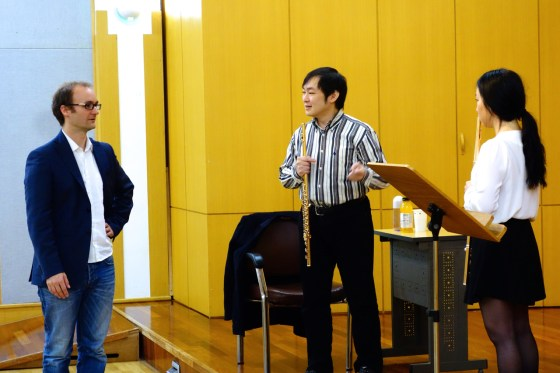 During a masterclass today for students of Professor Philipp Jundt at Kangnam University's German School of Music Weimar, Japanese flutist and Naxos recording artist Kazunori Seo helps 3rd-year student Lee Jeong Yun with Doppler's Fantasie Pastorale Hongroise. (Photo: Charles Ian Chun)