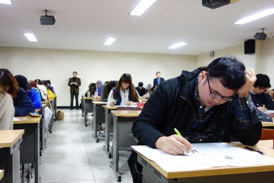 Students earlier today at Kangnam University's English Writing Contest hosted by the Department of English Literature, 8 Nov 2013. (Photo: Charles Ian Chun)