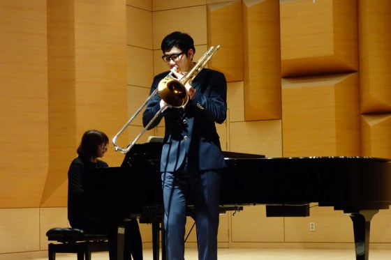 Student Choi Sang-woon performs Sachse's Concertion in B-flat major for trombone and piano at the Kangnam University Department of Music 2013 Graduation Orchestral Concert, Seok Ji-ah (piano), 14 Nov 2013. (Photo: Charles Ian Chun)