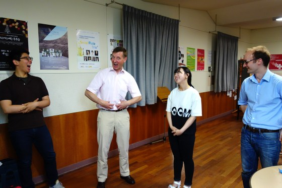 Schaaff and German School students Im Manyeol (left) and Kim Seung-joo share a laugh during breathing exercises as Professor Philipp Jundt (right) looks on.(Photo: Charles Ian Chun)