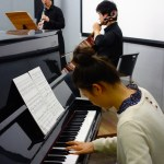 "Sun Ho Lee (clarinet), Sung Gyul Song (cello), and Sang Ah Park (piano) perform Piazzolla's ""Otoño Portaño"". 30 April 2014. (Photo: Charles Ian Chun)"