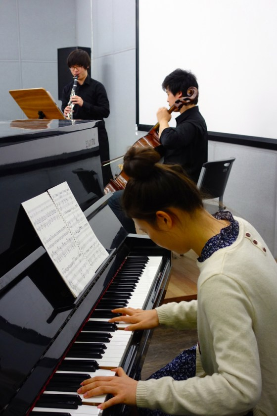 "Sun Ho Lee (clarinet), Sung Gyul Song (cello), and Sang Ah Park (piano) perform Piazzolla's ""Otoño Portaño"". 30 April 2014. (Photo: Charles Ian Chun)"