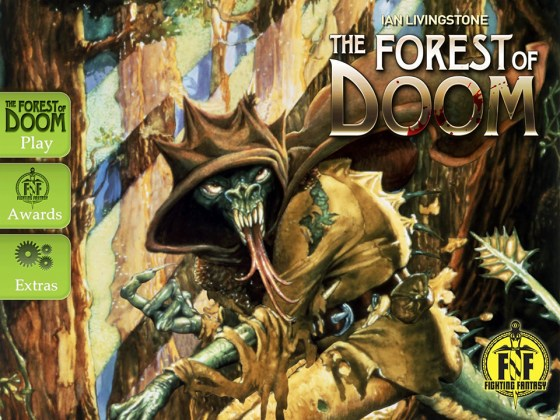 Intro screen to Fighting Fantasy's The Forest of Doom by Tin Man Games