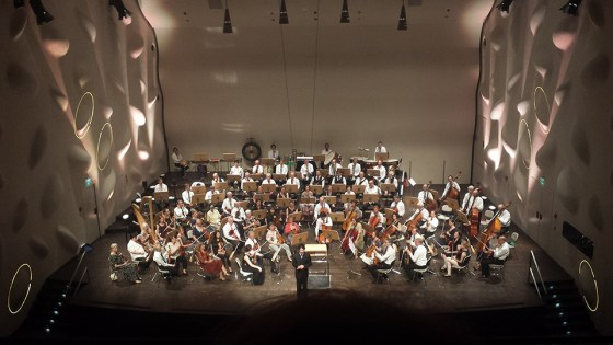 German School of Music students Juhee Ihm, Haram Park, and Jiwon Lim in concert with the Academic Orchestra Berlin June 3 at Nikolai Concert Hall in Potsdam. Photo courtesy of Viktoria Kaunzner