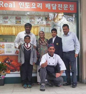 The Kangnam Hakbo Nov2015 - Local Indian restaurant Namaste owner Anwar Kim and his family. Photo: Eldin Husic