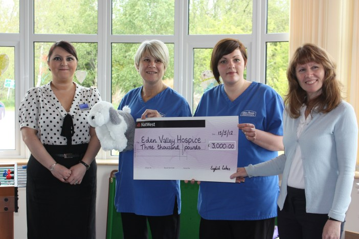 Janette Berry, English Lakes and Michelle Lemm, The Wild Boar, present £3,000 to Eden Valley Hospice