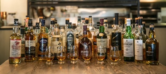 A selection of Whisky's in The Wild Boars collection