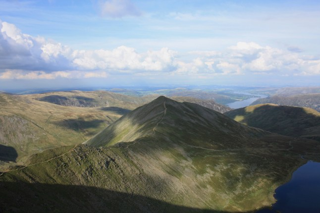 Swirral Edge and Catstycam from Helvellyn Summit