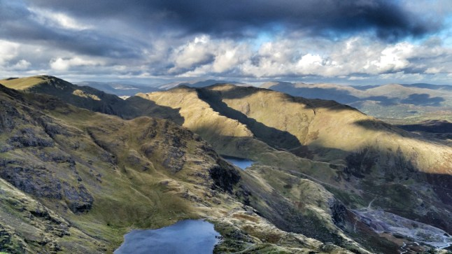 View of Swirl How, Black Sails and Wetherlam from Coniston Old Man in late October 2014 by Damon Pearson